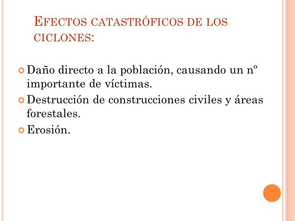 E FECTOS CATASTRÓFICOS DE LOS CICLONES : Daño directo a la población, causando un nº importante de víctimas.