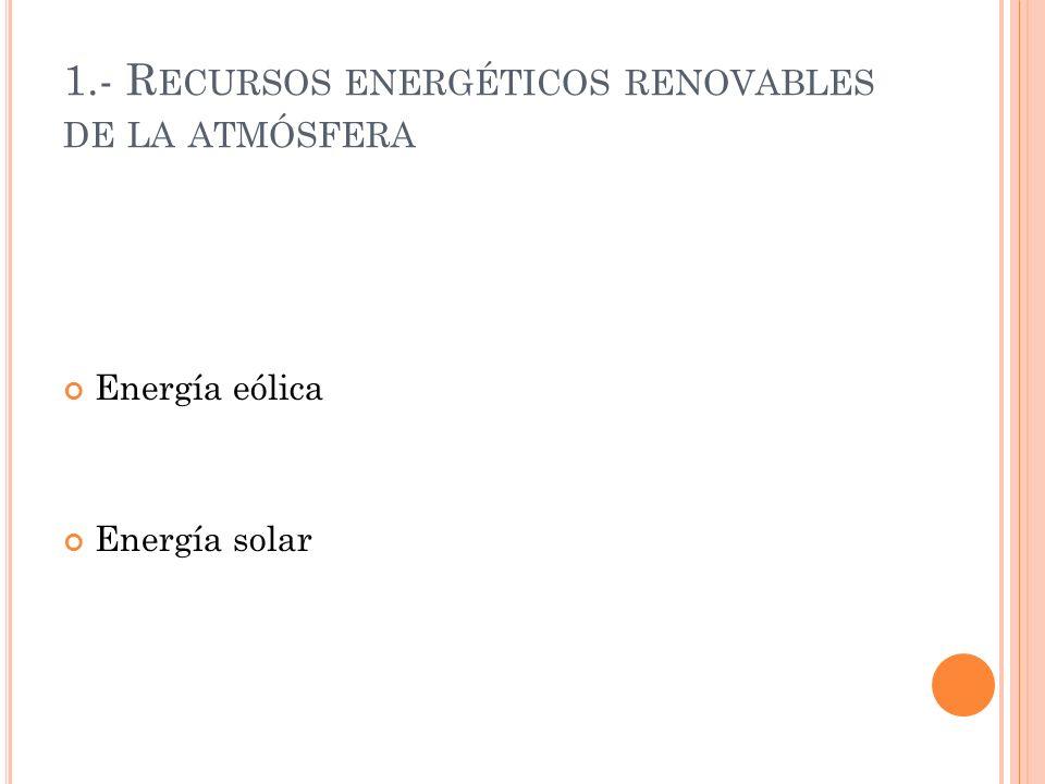 1.- R ECURSOS ENERGÉTICOS RENOVABLES DE LA ATMÓSFERA Energía eólica Energía solar