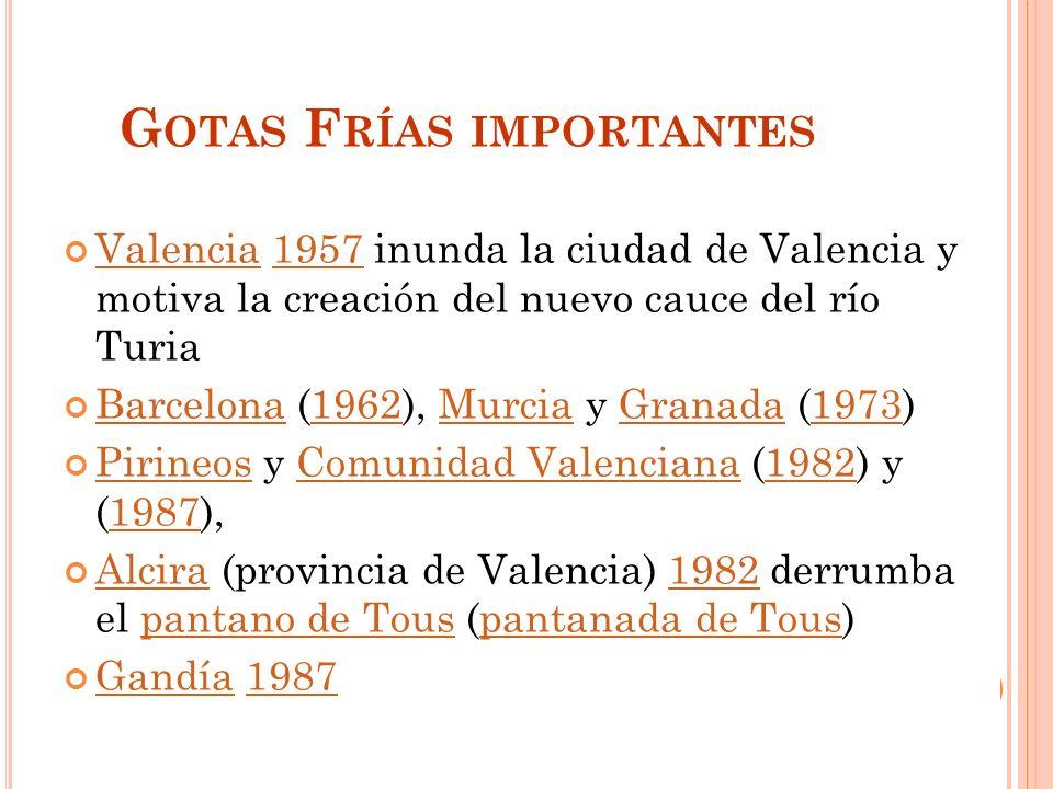 G OTAS F RÍAS IMPORTANTES Valencia 1957 inunda la ciudad de Valencia y motiva la creación del nuevo cauce del río Turia Valencia1957 Barcelona (1962), Murcia y Granada (1973) Barcelona1962MurciaGranada1973 Pirineos y Comunidad Valenciana (1982) y (1987), PirineosComunidad Valenciana19821987 Alcira (provincia de Valencia) 1982 derrumba el pantano de Tous (pantanada de Tous) Alcira1982pantano de Touspantanada de Tous Gandía 1987 Gandía1987