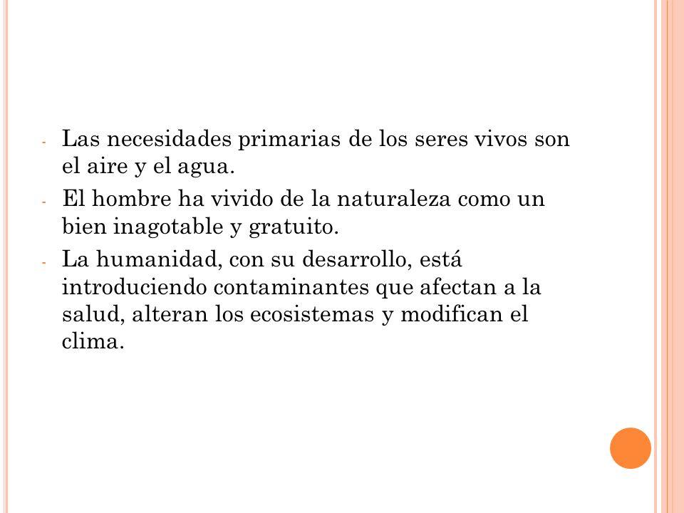 - Las necesidades primarias de los seres vivos son el aire y el agua.