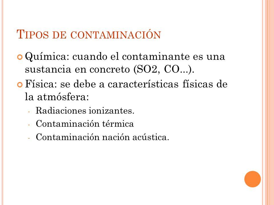 T IPOS DE CONTAMINACIÓN Química: cuando el contaminante es una sustancia en concreto (SO2, CO...).