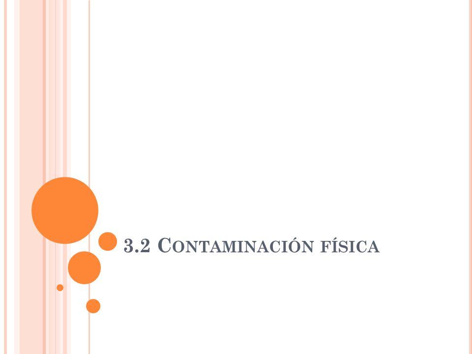 T IPOS DE CONTAMINACIÓN Química: cuando el contaminante es una sustancia en concreto (SO2, CO...). Física: se debe a características físicas de la atm