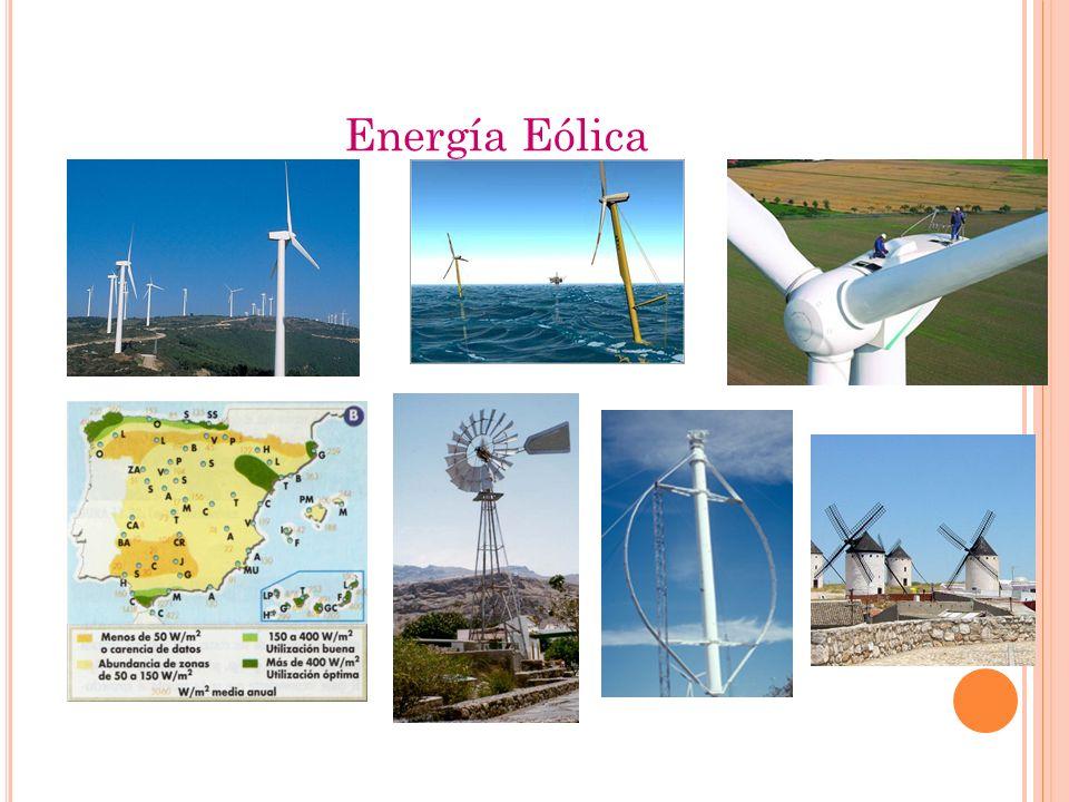 Energía Eólica VENTAJAS : Renovable, limpia, autóctona (local), inagotable. Bajo coste instalación. Tecnología con alto desarrollo nacional. Contribuy