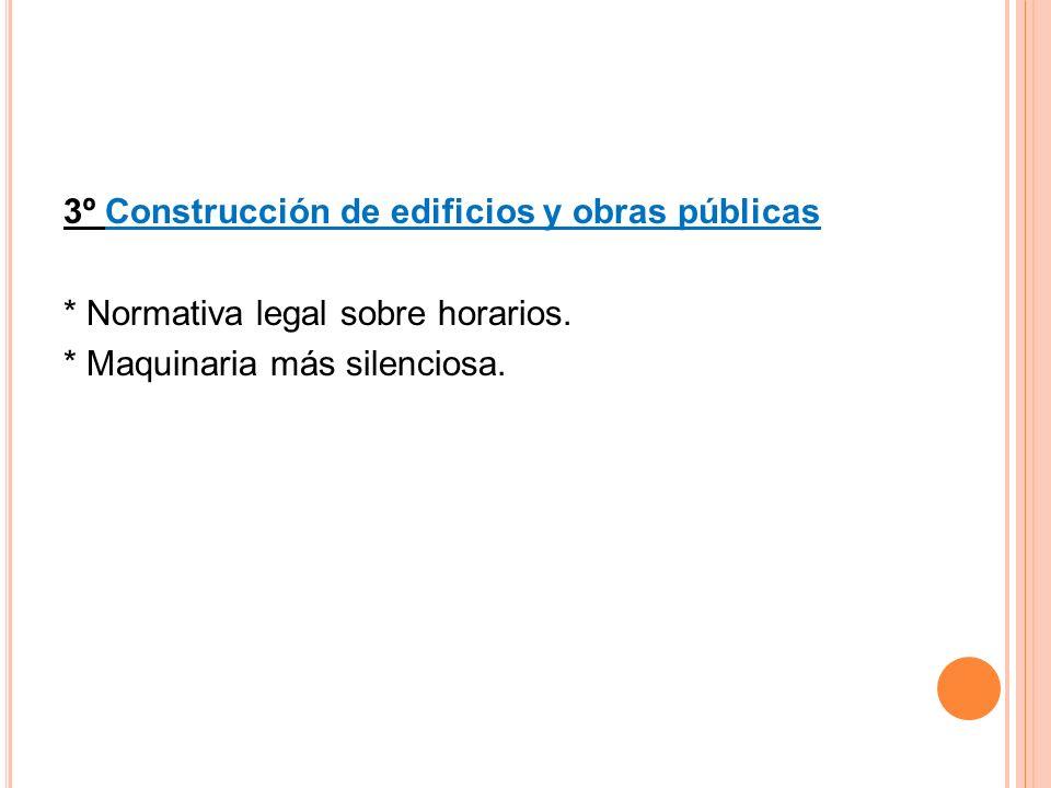 3º Construcción de edificios y obras públicas * Normativa legal sobre horarios.