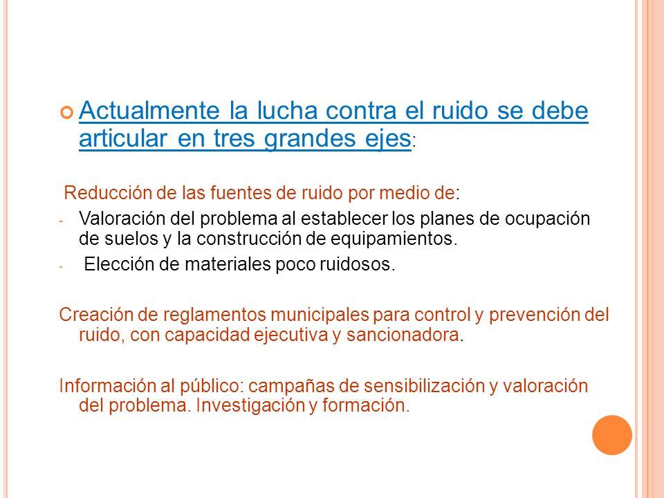 3º Construcción de edificios y obras públicas * Normativa legal sobre horarios. * Maquinaria más silenciosa.
