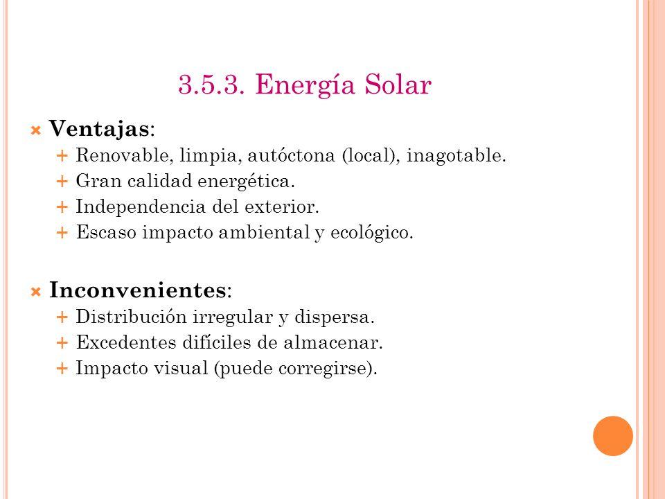 1.2. Energía Solar Tres formas de aprovechamiento : Arquitectura bioclimática o solar : diseño de edificios. Permite gran ahorro en calefacción y aire