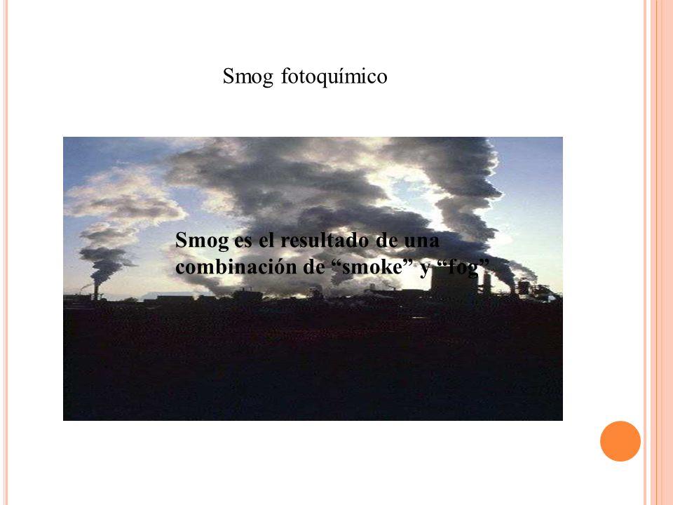 Smog fotoquímico Smog es el resultado de una combinación de smoke y fog