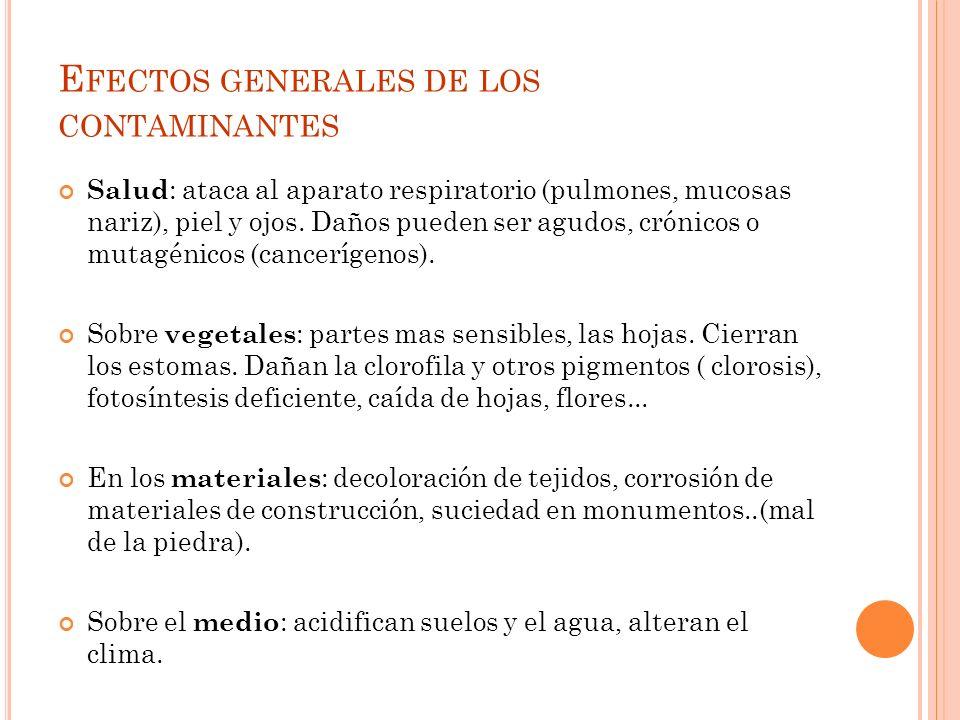 E FECTOS GENERALES DE LOS CONTAMINANTES Salud : ataca al aparato respiratorio (pulmones, mucosas nariz), piel y ojos.