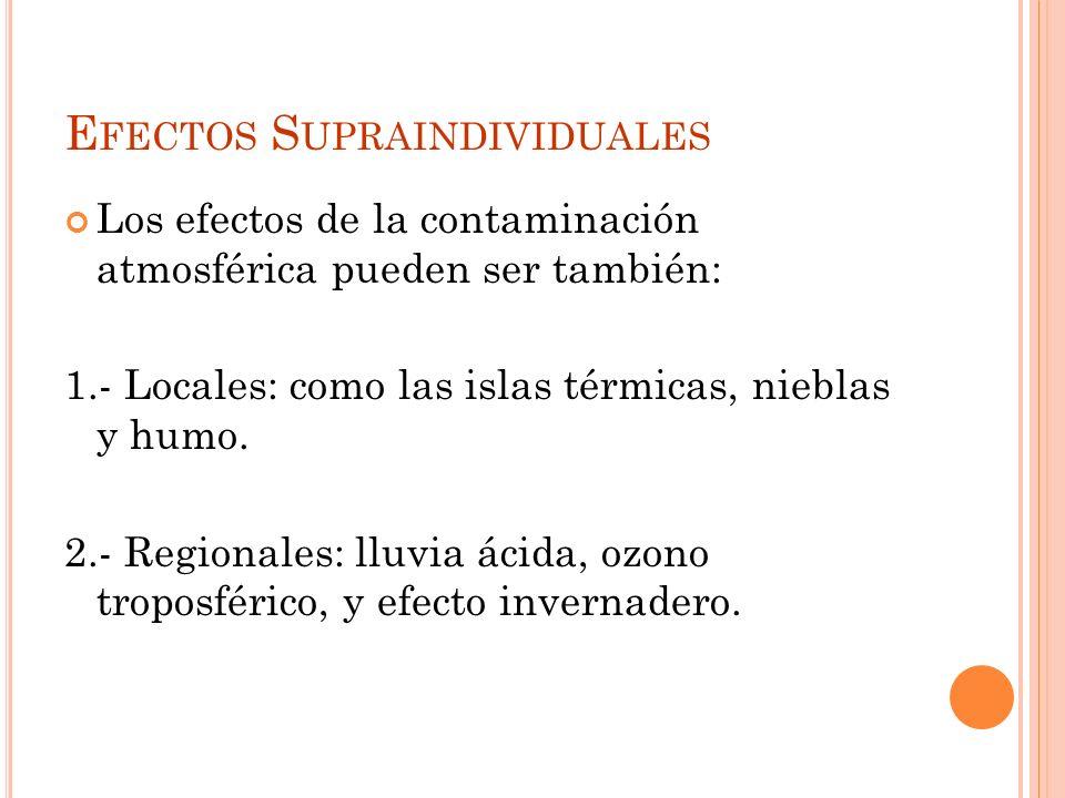 E FECTOS GENERALES DE LOS CONTAMINANTES Salud : ataca al aparato respiratorio (pulmones, mucosas nariz), piel y ojos. Daños pueden ser agudos, crónico