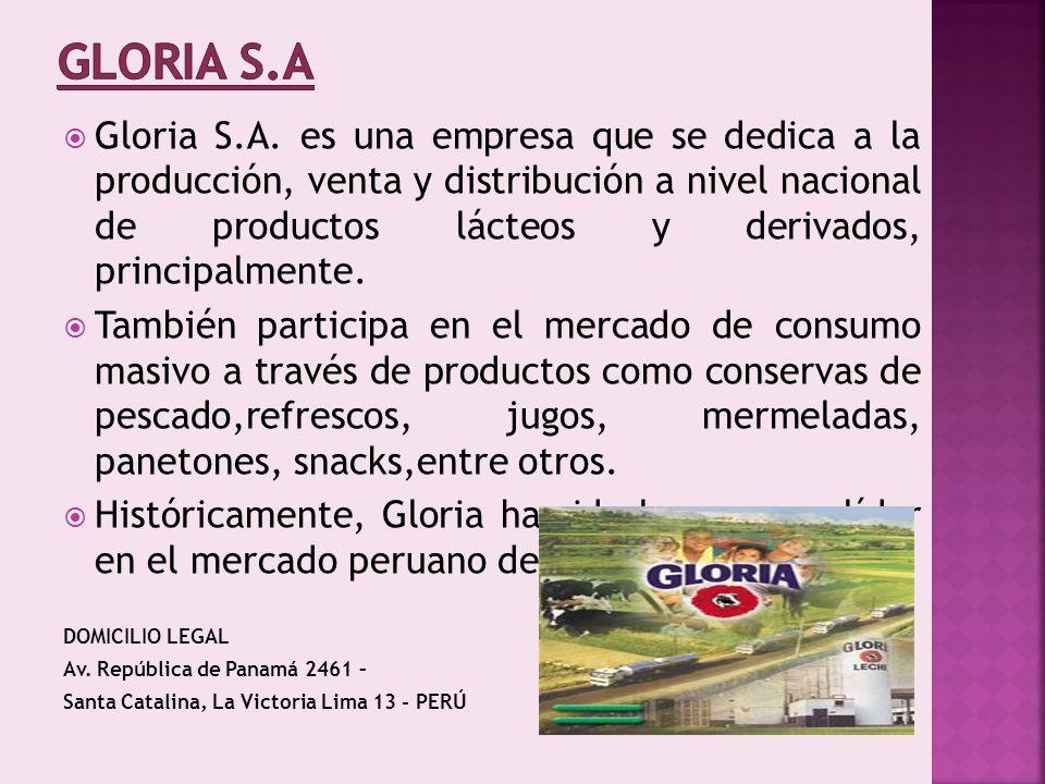 Gloria S.A. es una empresa que se dedica a la producción, venta y distribución a nivel nacional de productos lácteos y derivados, principalmente. Tamb