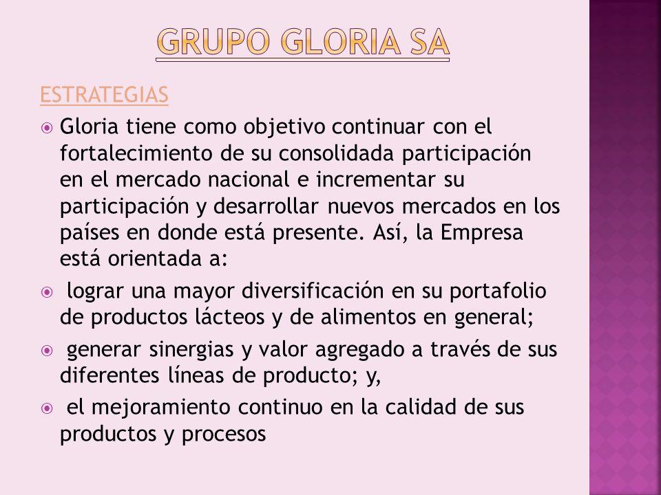 ESTRATEGIAS Gloria tiene como objetivo continuar con el fortalecimiento de su consolidada participación en el mercado nacional e incrementar su partic