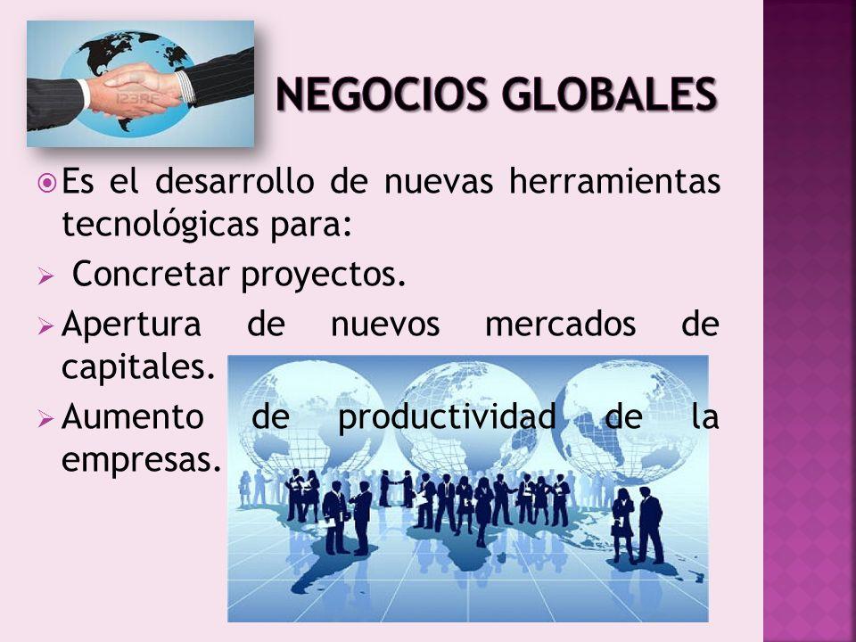 Es el desarrollo de nuevas herramientas tecnológicas para: Concretar proyectos. Apertura de nuevos mercados de capitales. Aumento de productividad de