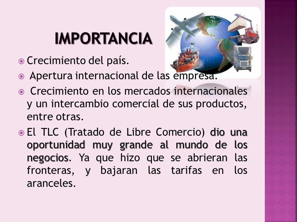 Crecimiento del país. Apertura internacional de las empresa. Crecimiento en los mercados internacionales y un intercambio comercial de sus productos,
