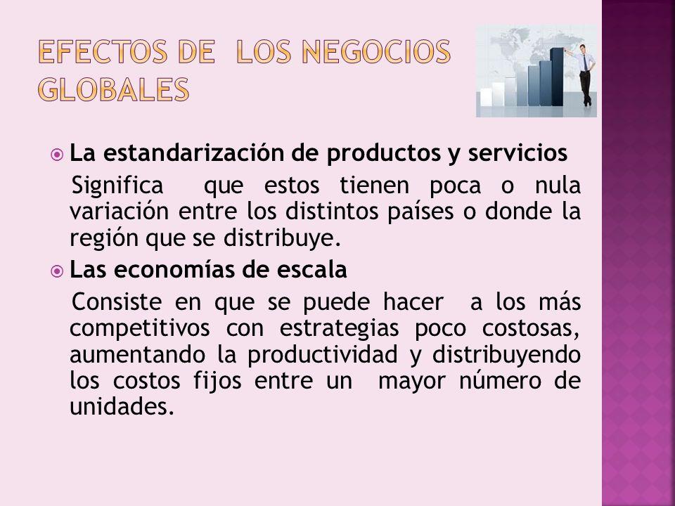 La estandarización de productos y servicios Significa que estos tienen poca o nula variación entre los distintos países o donde la región que se distr