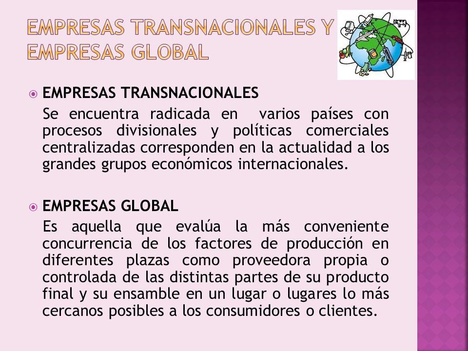 EMPRESAS TRANSNACIONALES Se encuentra radicada en varios países con procesos divisionales y políticas comerciales centralizadas corresponden en la act