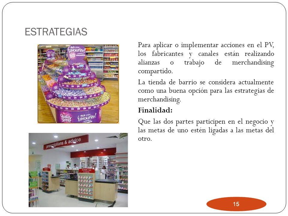 15 ESTRATEGIAS Para aplicar o implementar acciones en el PV, los fabricantes y canales están realizando alianzas o trabajo de merchandising compartido