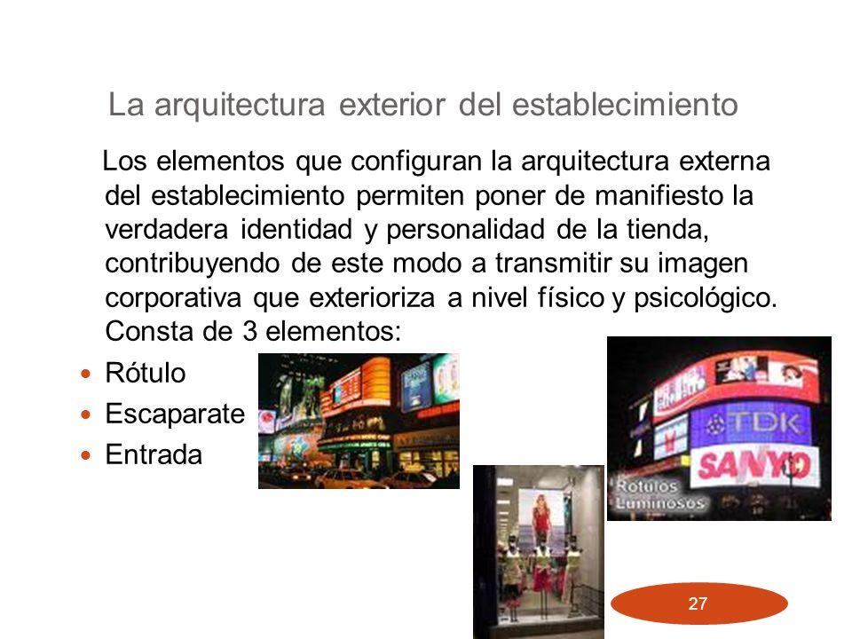 27 La arquitectura exterior del establecimiento Los elementos que configuran la arquitectura externa del establecimiento permiten poner de manifiesto
