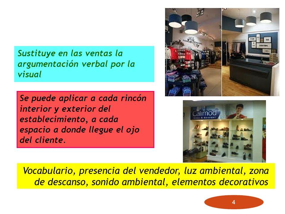 4 Vocabulario, presencia del vendedor, luz ambiental, zona de descanso, sonido ambiental, elementos decorativos Sustituye en las ventas la argumentaci