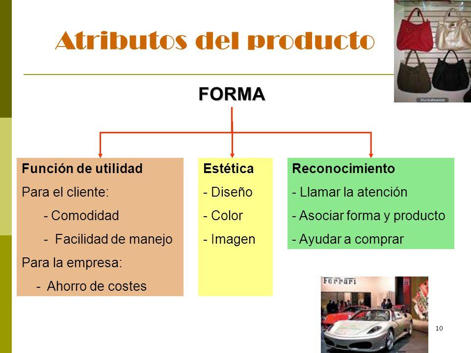 10 Atributos del producto FORMA Función de utilidad Para el cliente: - Comodidad - Facilidad de manejo Para la empresa: - Ahorro de costes Estética -