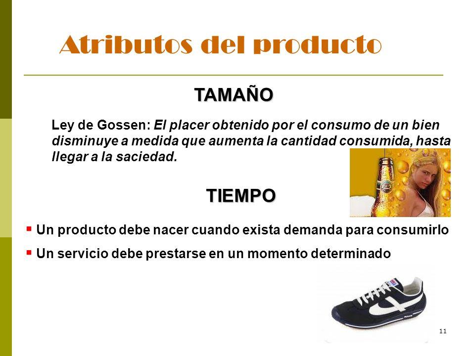 11 Atributos del producto TAMAÑO Ley de Gossen: El placer obtenido por el consumo de un bien disminuye a medida que aumenta la cantidad consumida, has