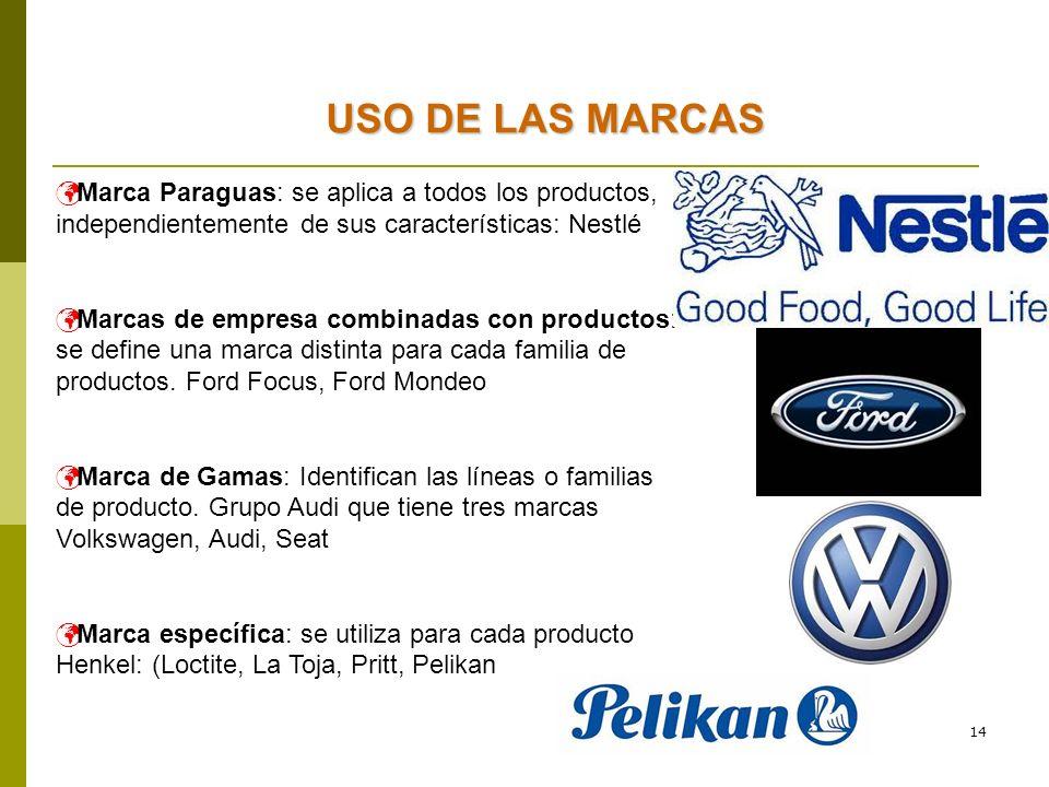 14 USO DE LAS MARCAS Marca Paraguas: se aplica a todos los productos, independientemente de sus características: Nestlé Marcas de empresa combinadas c
