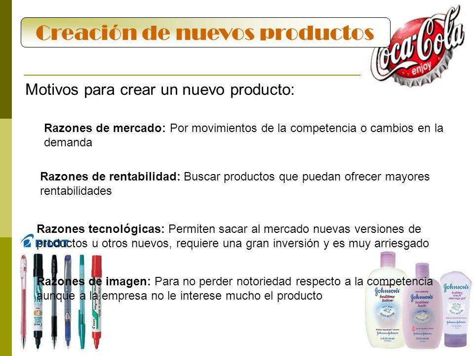 29 Creación de nuevos productos Motivos para crear un nuevo producto: Razones de mercado: Por movimientos de la competencia o cambios en la demanda Ra
