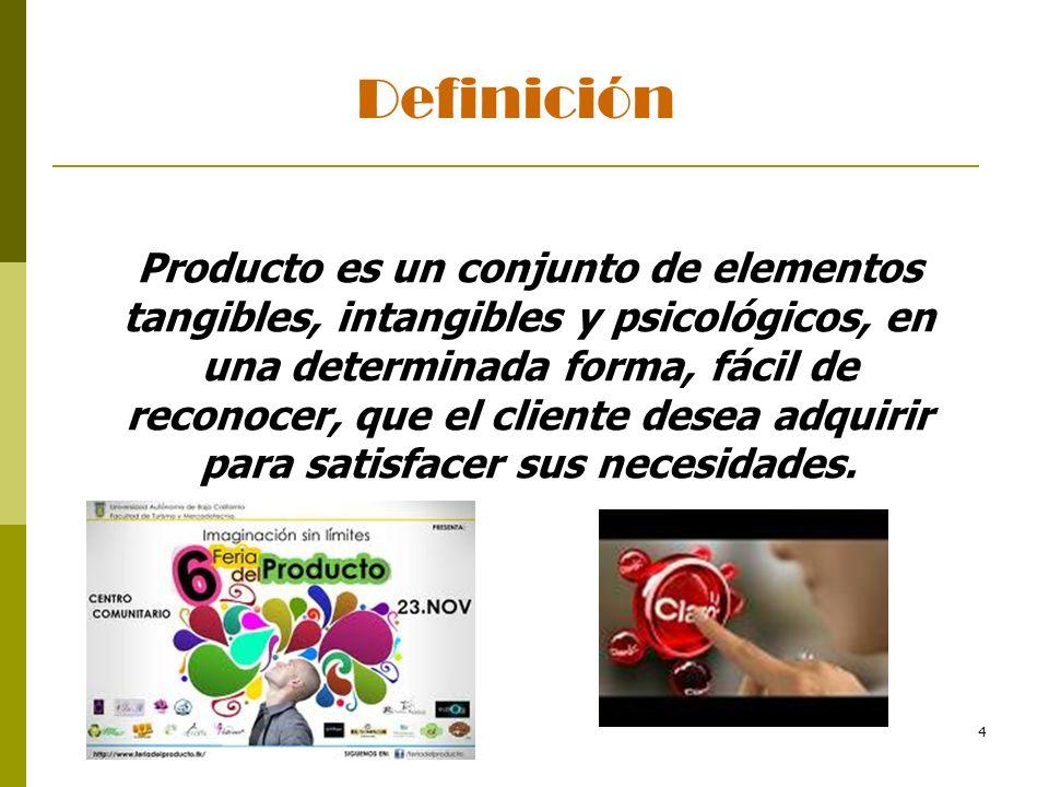 4 Producto es un conjunto de elementos tangibles, intangibles y psicológicos, en una determinada forma, fácil de reconocer, que el cliente desea adqui