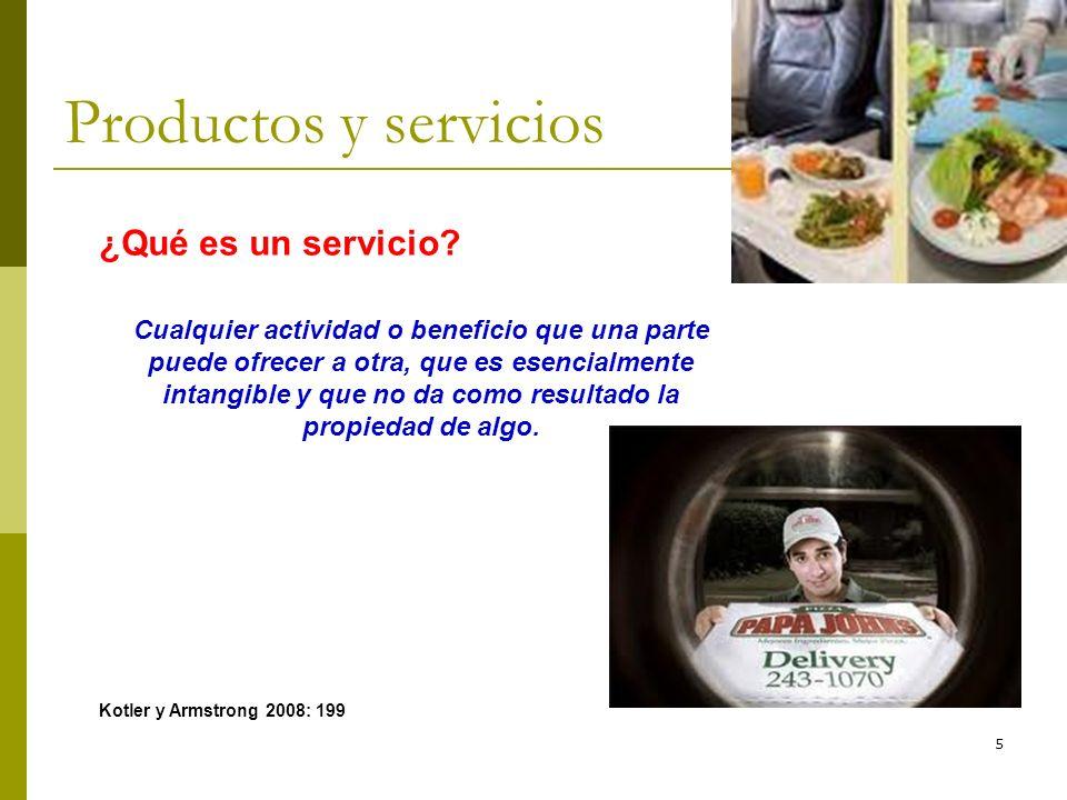 5 Productos y servicios ¿Qué es un servicio? Cualquier actividad o beneficio que una parte puede ofrecer a otra, que es esencialmente intangible y que