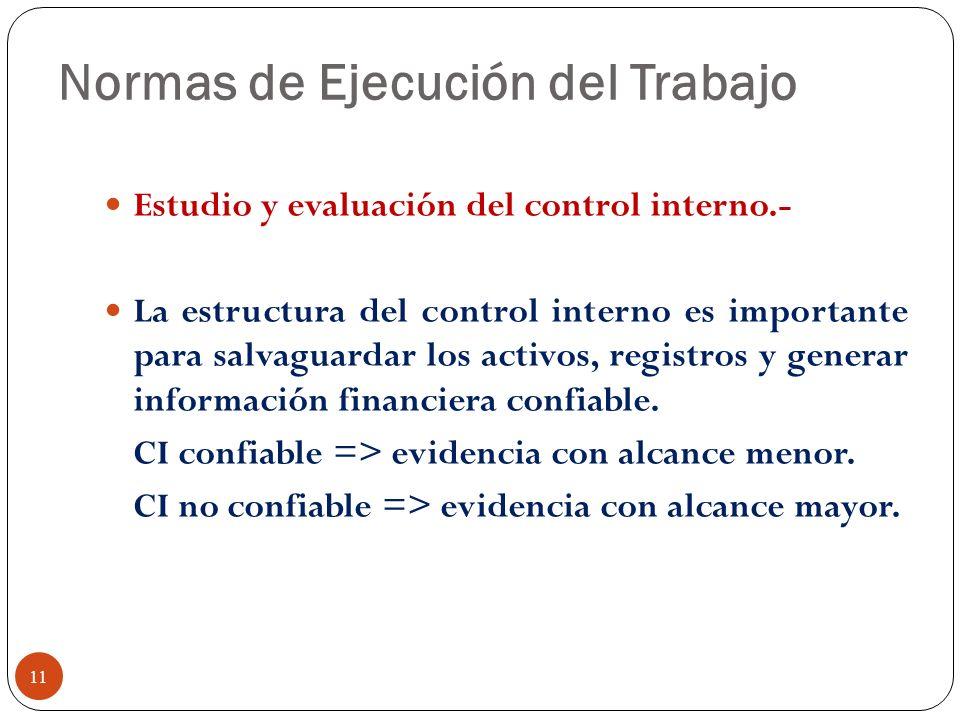 Normas de Ejecución del Trabajo Estudio y evaluación del control interno.- La estructura del control interno es importante para salvaguardar los activ