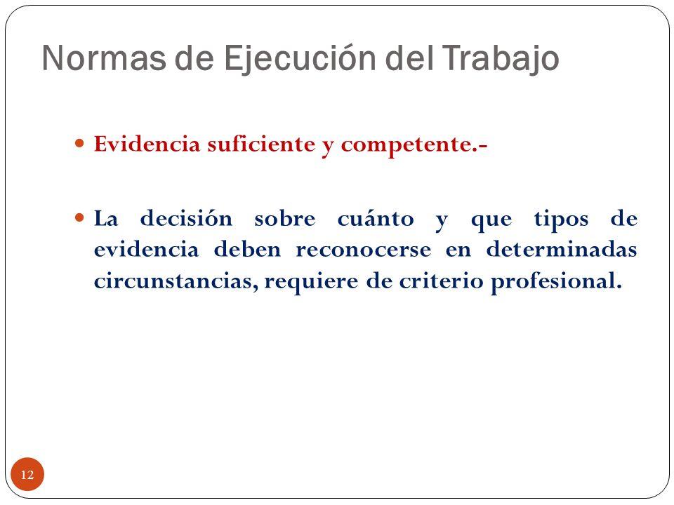 Normas de Ejecución del Trabajo Evidencia suficiente y competente.- La decisión sobre cuánto y que tipos de evidencia deben reconocerse en determinada