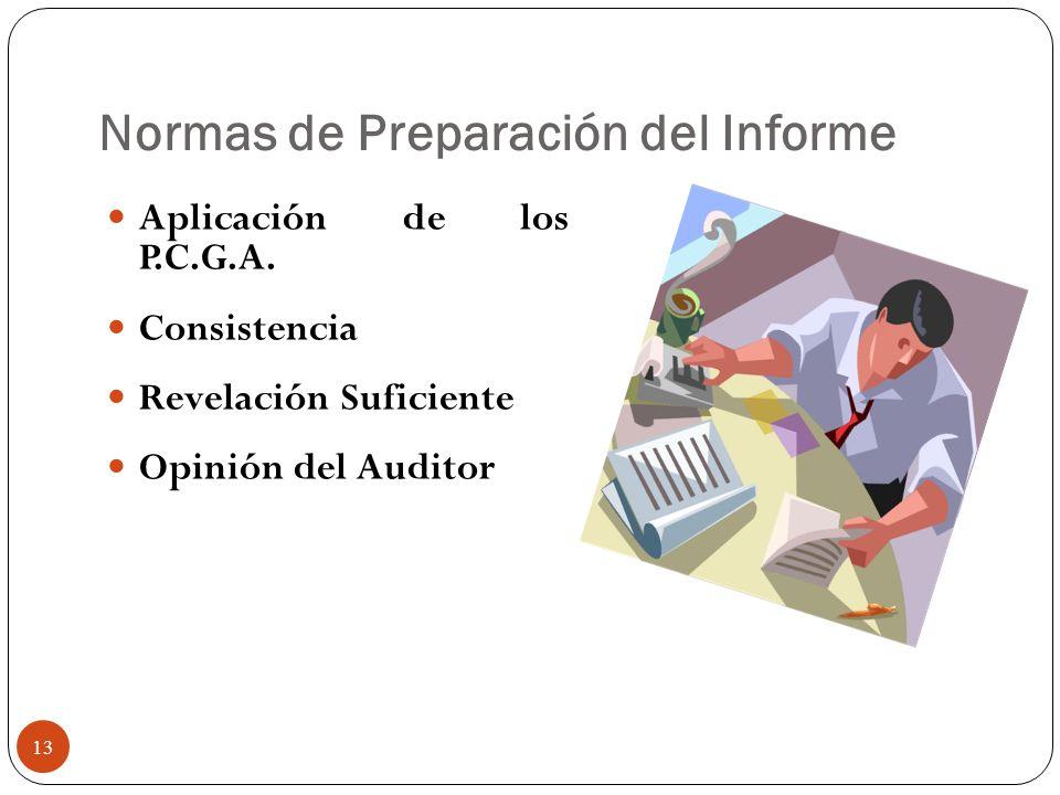 Normas de Preparación del Informe Aplicación de los P.C.G.A. Consistencia Revelación Suficiente Opinión del Auditor 13