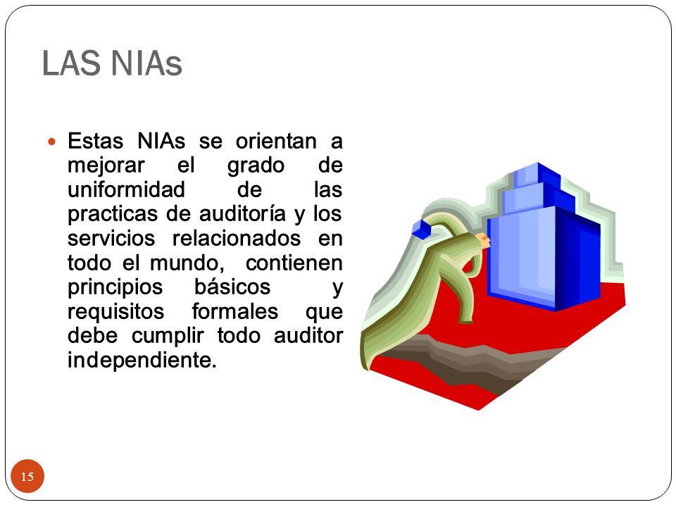 LAS NIAs Estas NIAs se orientan a mejorar el grado de uniformidad de las practicas de auditoría y los servicios relacionados en todo el mundo, contien