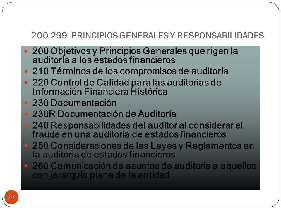 200-299 PRINCIPIOS GENERALES Y RESPONSABILIDADES 17 200 Objetivos y Principios Generales que rigen la auditoría a los estados financieros 210 Términos