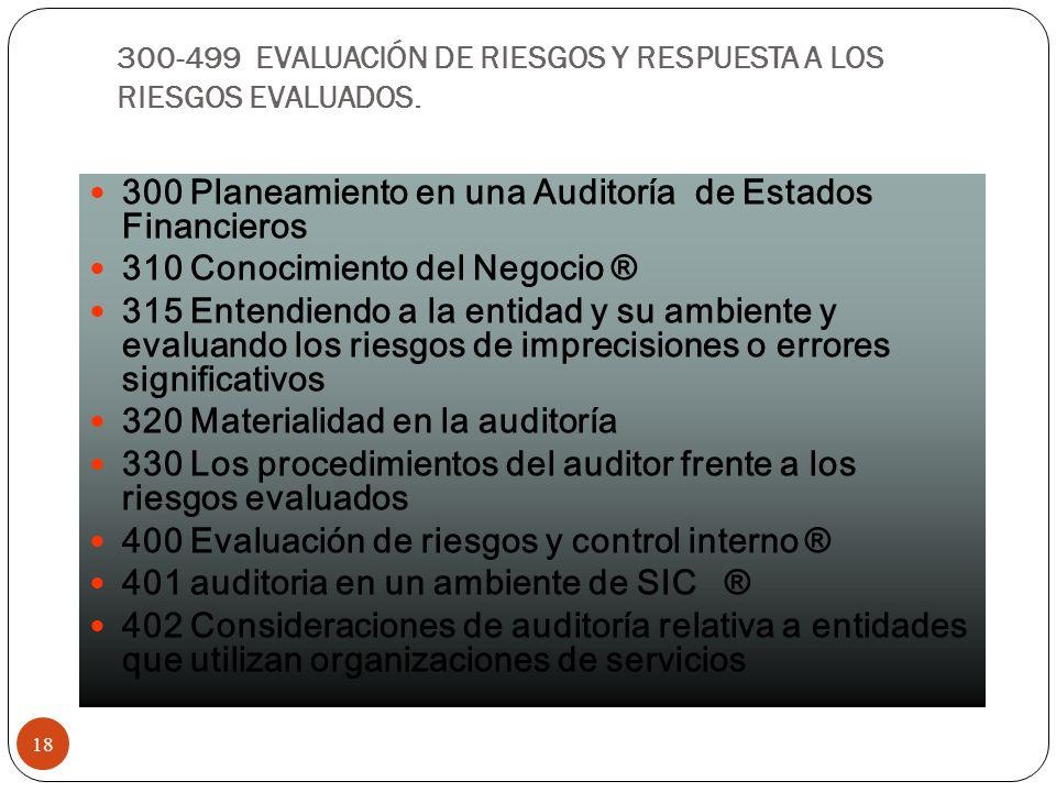 300-499 EVALUACIÓN DE RIESGOS Y RESPUESTA A LOS RIESGOS EVALUADOS. 18 300 Planeamiento en una Auditoría de Estados Financieros 310 Conocimiento del Ne