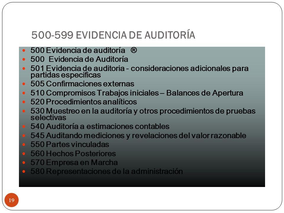 500-599 EVIDENCIA DE AUDITORÍA 19 500 Evidencia de auditoría ® 500 Evidencia de Auditoría 501 Evidencia de auditoria - consideraciones adicionales par