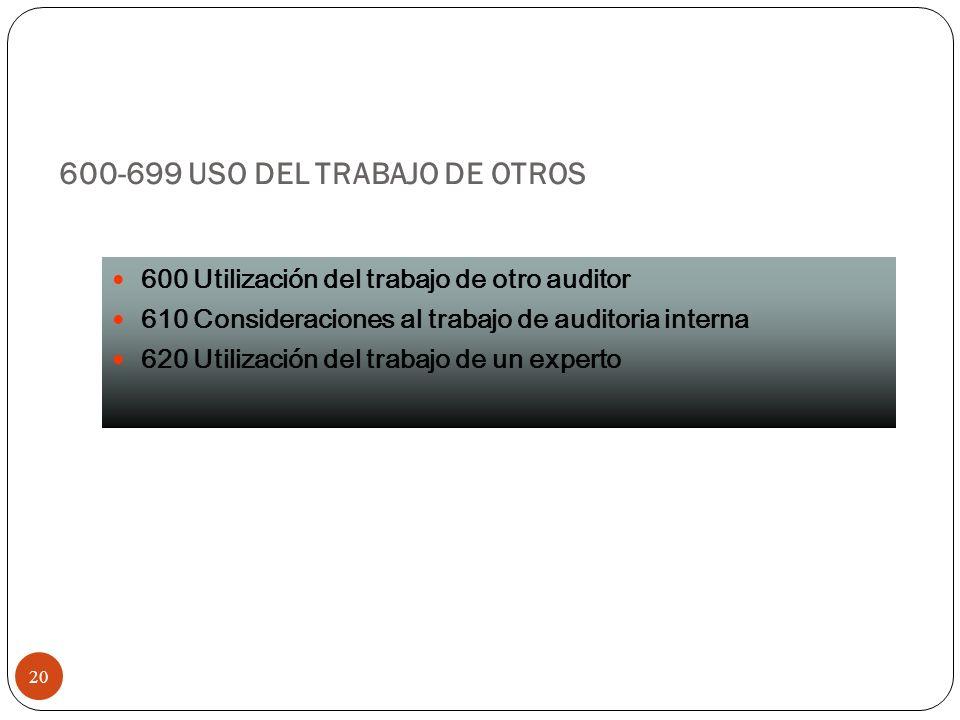600-699 USO DEL TRABAJO DE OTROS 20 600 Utilización del trabajo de otro auditor 610 Consideraciones al trabajo de auditoria interna 620 Utilización de