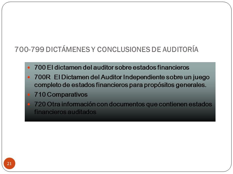 700-799 DICTÁMENES Y CONCLUSIONES DE AUDITORÍA 21 700 El dictamen del auditor sobre estados financieros 700R El Dictamen del Auditor Independiente sob