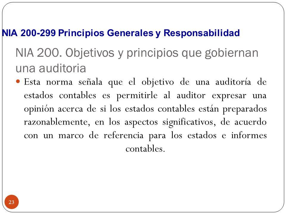 NIA 200. Objetivos y principios que gobiernan una auditoria Esta norma señala que el objetivo de una auditoría de estados contables es permitirle al a