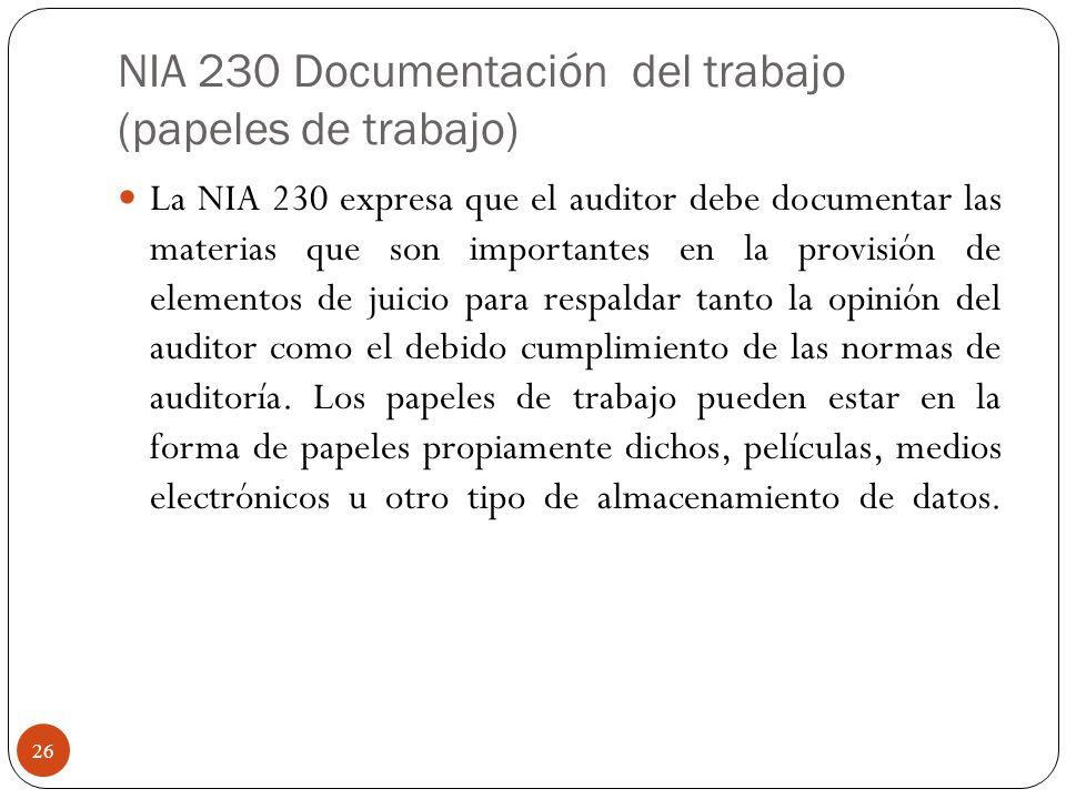 NIA 230 Documentación del trabajo (papeles de trabajo) La NIA 230 expresa que el auditor debe documentar las materias que son importantes en la provis