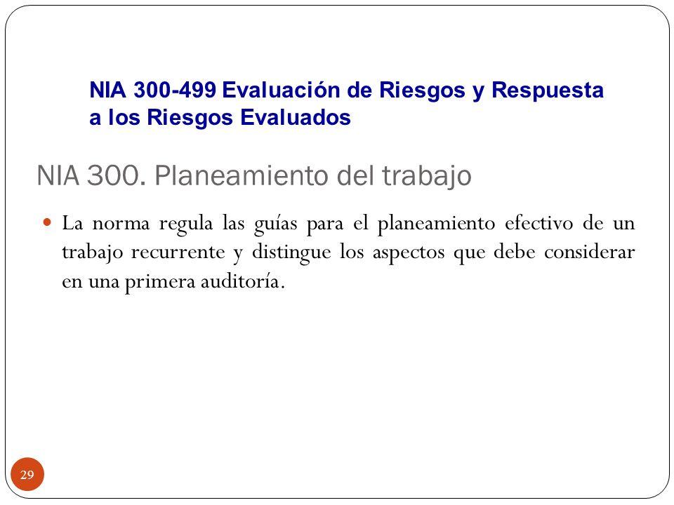 NIA 300. Planeamiento del trabajo La norma regula las guías para el planeamiento efectivo de un trabajo recurrente y distingue los aspectos que debe c