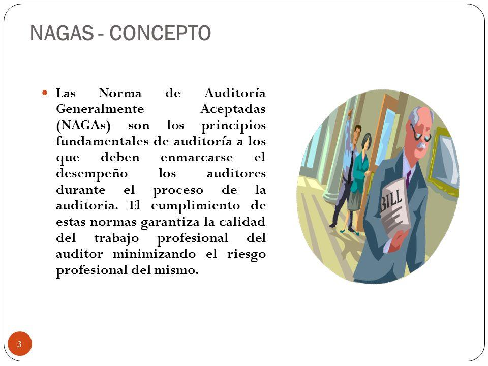 NAGAS - CONCEPTO Las Norma de Auditoría Generalmente Aceptadas (NAGAs) son los principios fundamentales de auditoría a los que deben enmarcarse el des
