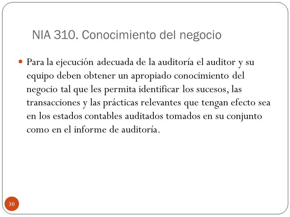 NIA 310. Conocimiento del negocio Para la ejecución adecuada de la auditoría el auditor y su equipo deben obtener un apropiado conocimiento del negoci