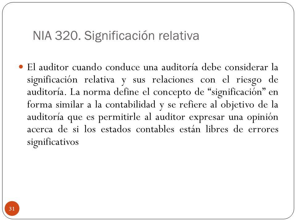 NIA 320. Significación relativa El auditor cuando conduce una auditoría debe considerar la significación relativa y sus relaciones con el riesgo de au
