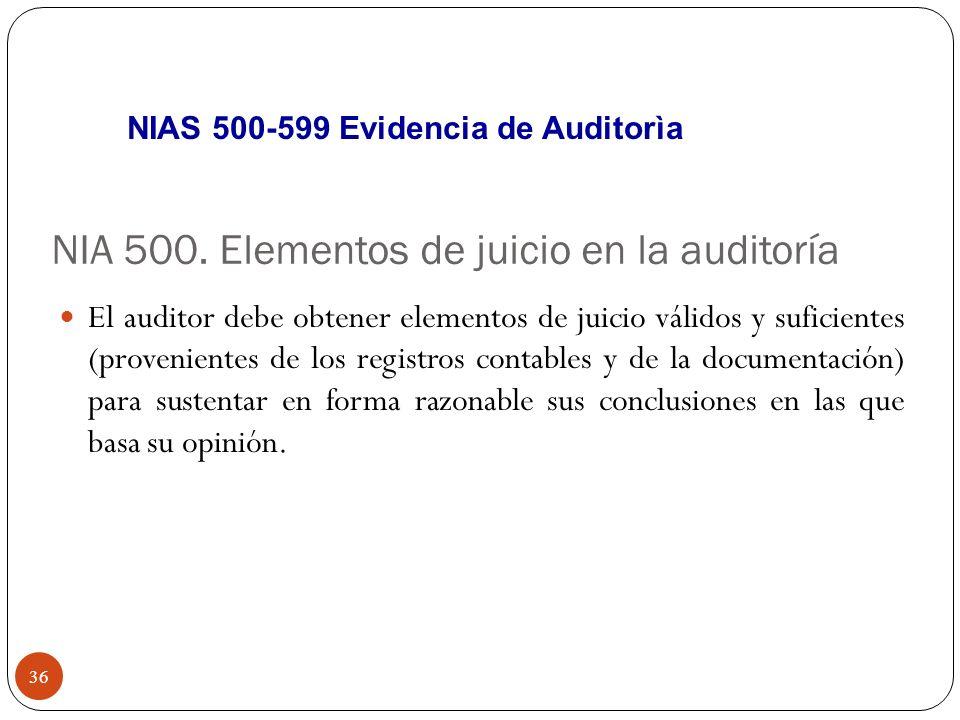 NIA 500. Elementos de juicio en la auditoría El auditor debe obtener elementos de juicio válidos y suficientes (provenientes de los registros contable