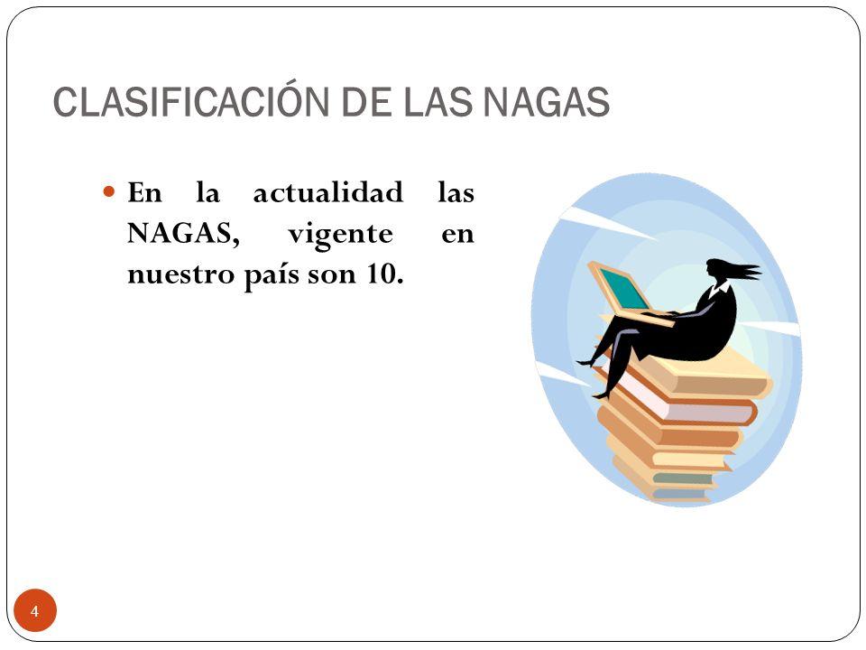 CLASIFICACIÓN DE LAS NAGAS En la actualidad las NAGAS, vigente en nuestro país son 10. 4