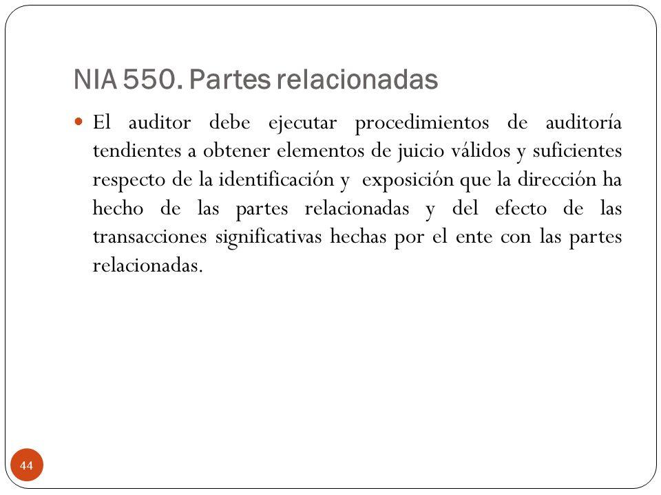 NIA 550. Partes relacionadas El auditor debe ejecutar procedimientos de auditoría tendientes a obtener elementos de juicio válidos y suficientes respe