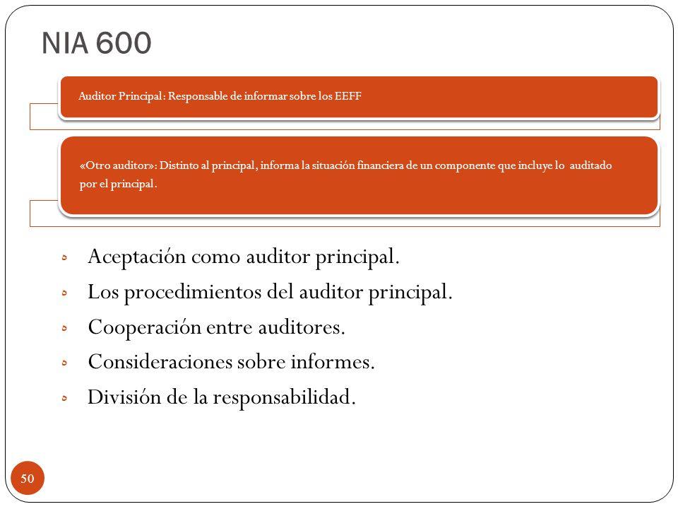 NIA 600 ه Aceptación como auditor principal. ه Los procedimientos del auditor principal. ه Cooperación entre auditores. ه Consideraciones sobre inform