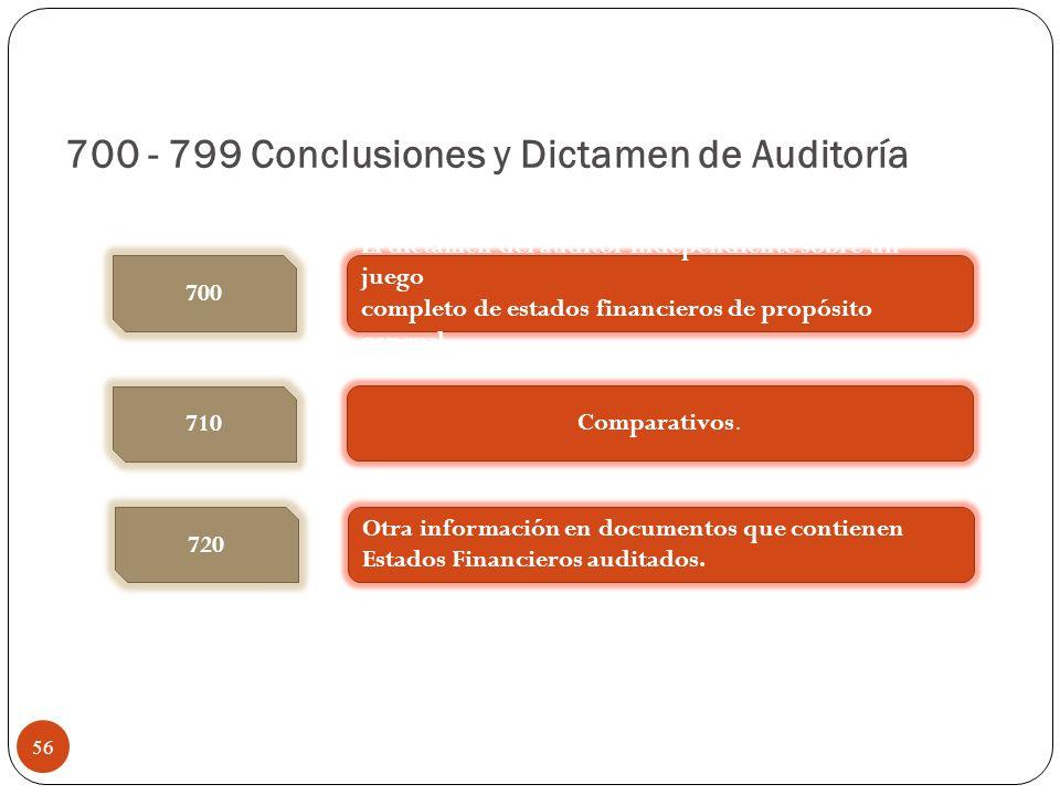 700 - 799 Conclusiones y Dictamen de Auditoría El dictamen del auditor independiente sobre un juego completo de estados financieros de propósito gener