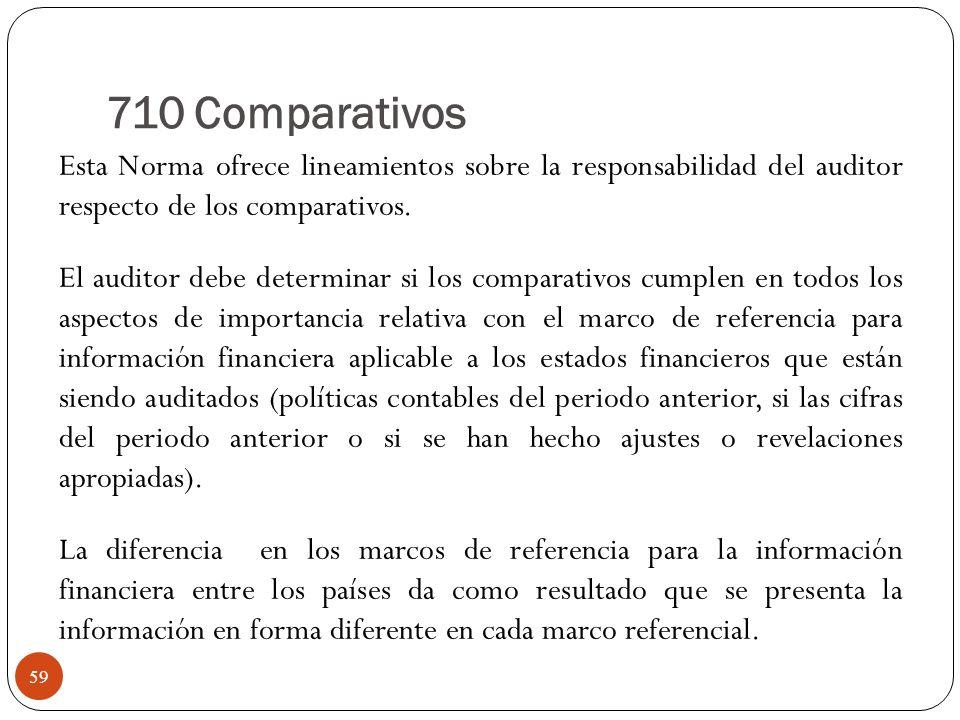 710 Comparativos Esta Norma ofrece lineamientos sobre la responsabilidad del auditor respecto de los comparativos. El auditor debe determinar si los c