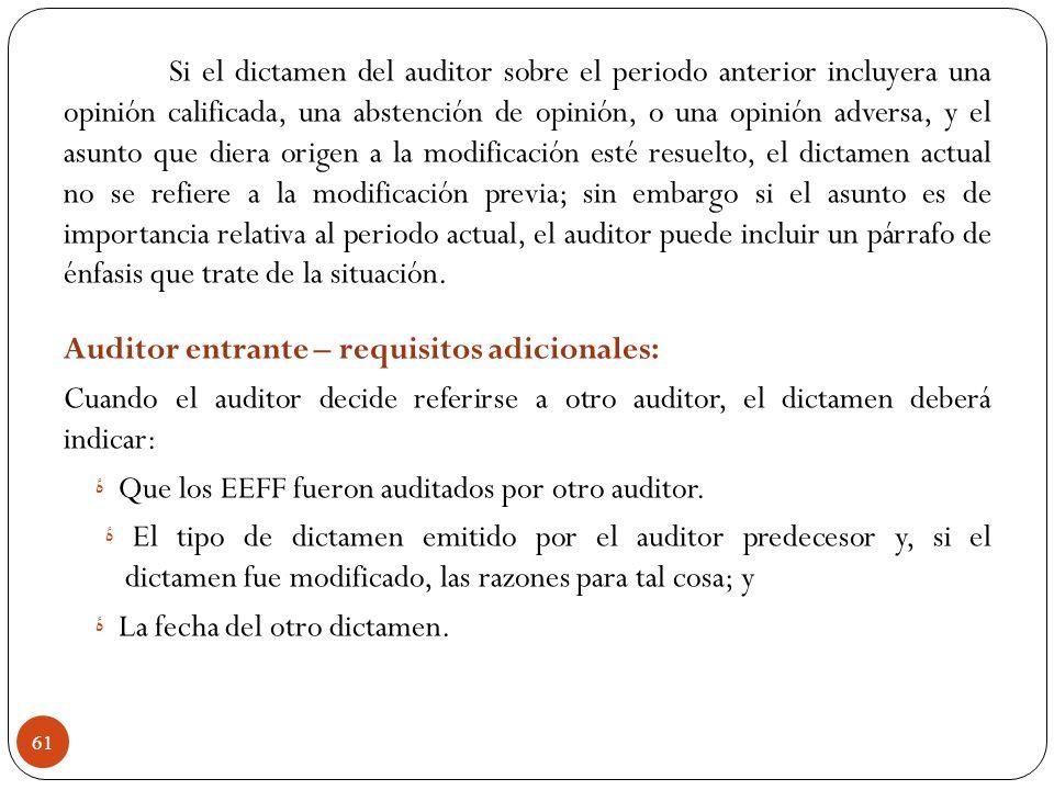 Si el dictamen del auditor sobre el periodo anterior incluyera una opinión calificada, una abstención de opinión, o una opinión adversa, y el asunto q